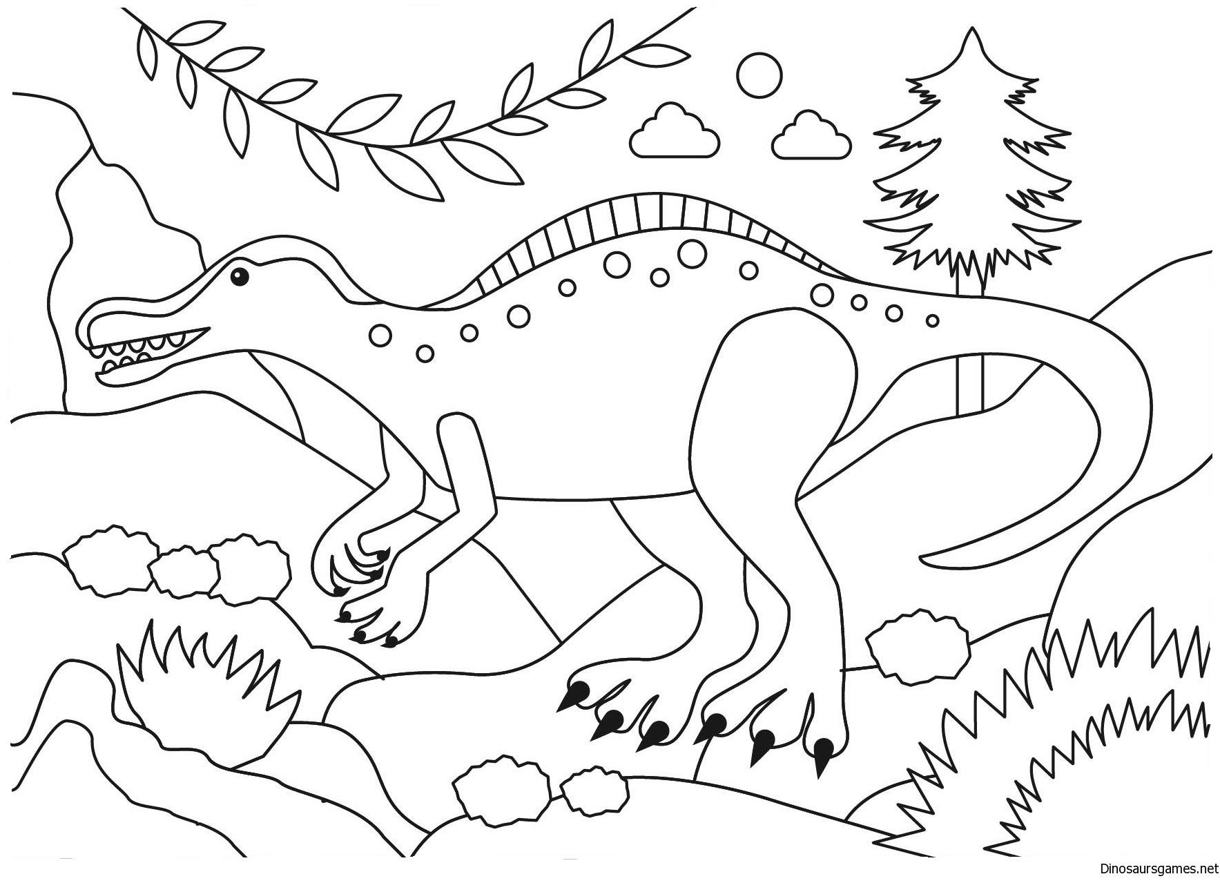 image free download Suchomimus Dinosaur Coloring Page.
