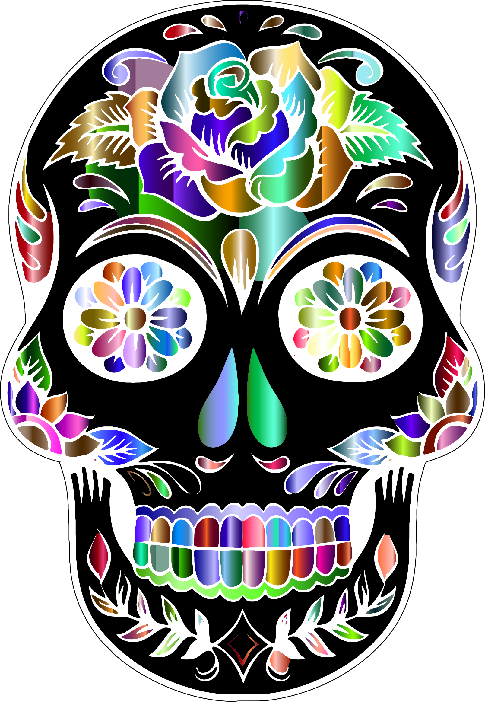 clip art freeuse download Prismatic skull silhouette by. Sugar clipart
