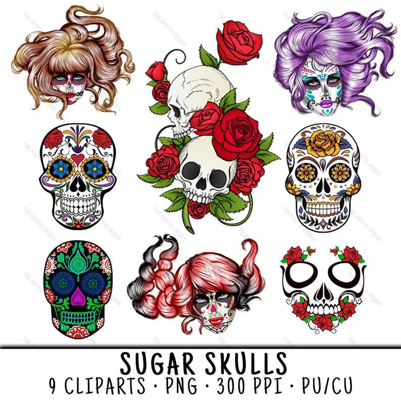 clip art transparent stock Clip art with rose. Sugar skull clipart