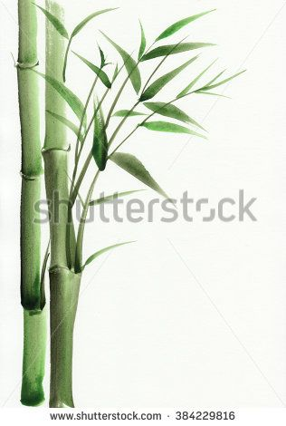 black and white download Bamboo original watercolor painting