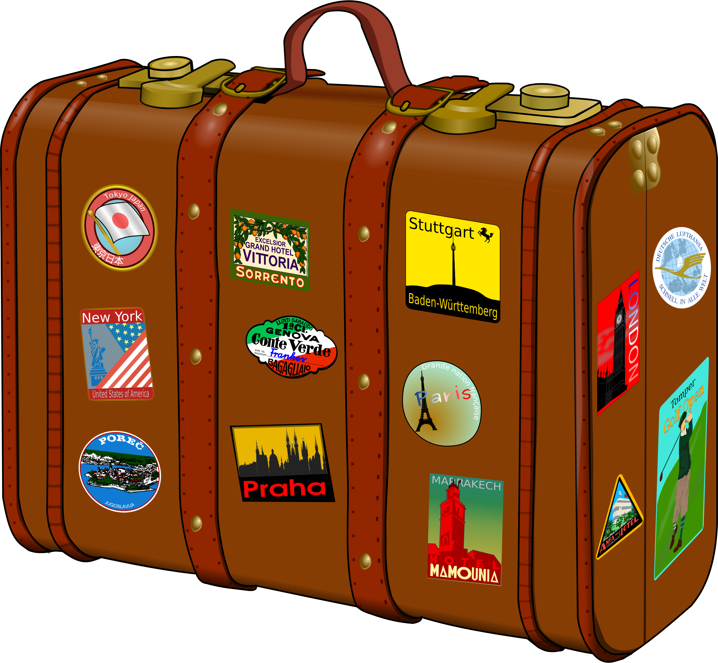 banner download Suitcase clipart. With stickers big image