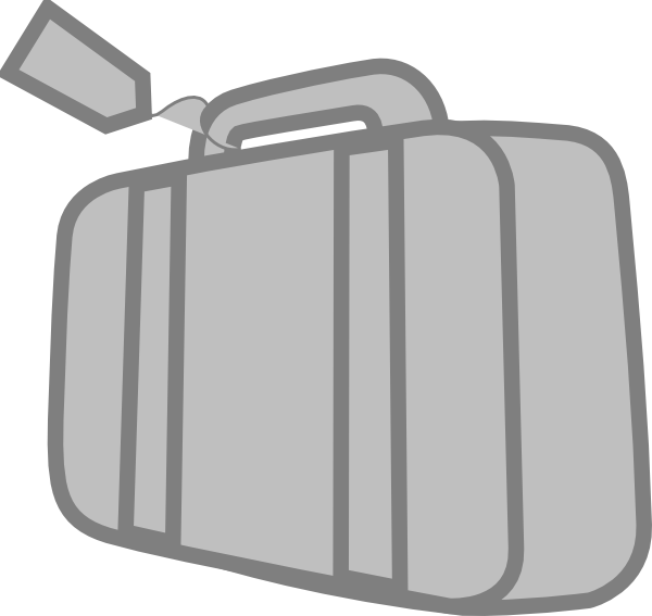 picture freeuse Grey travel suitcase clip. Luggage clipart black and white