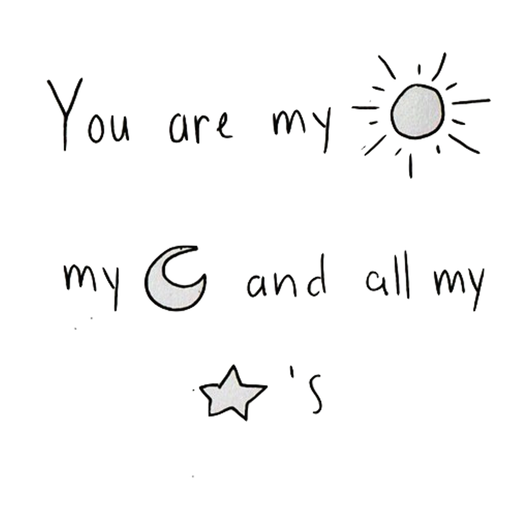 clip stock You are my all. Sun moon stars clipart black and white