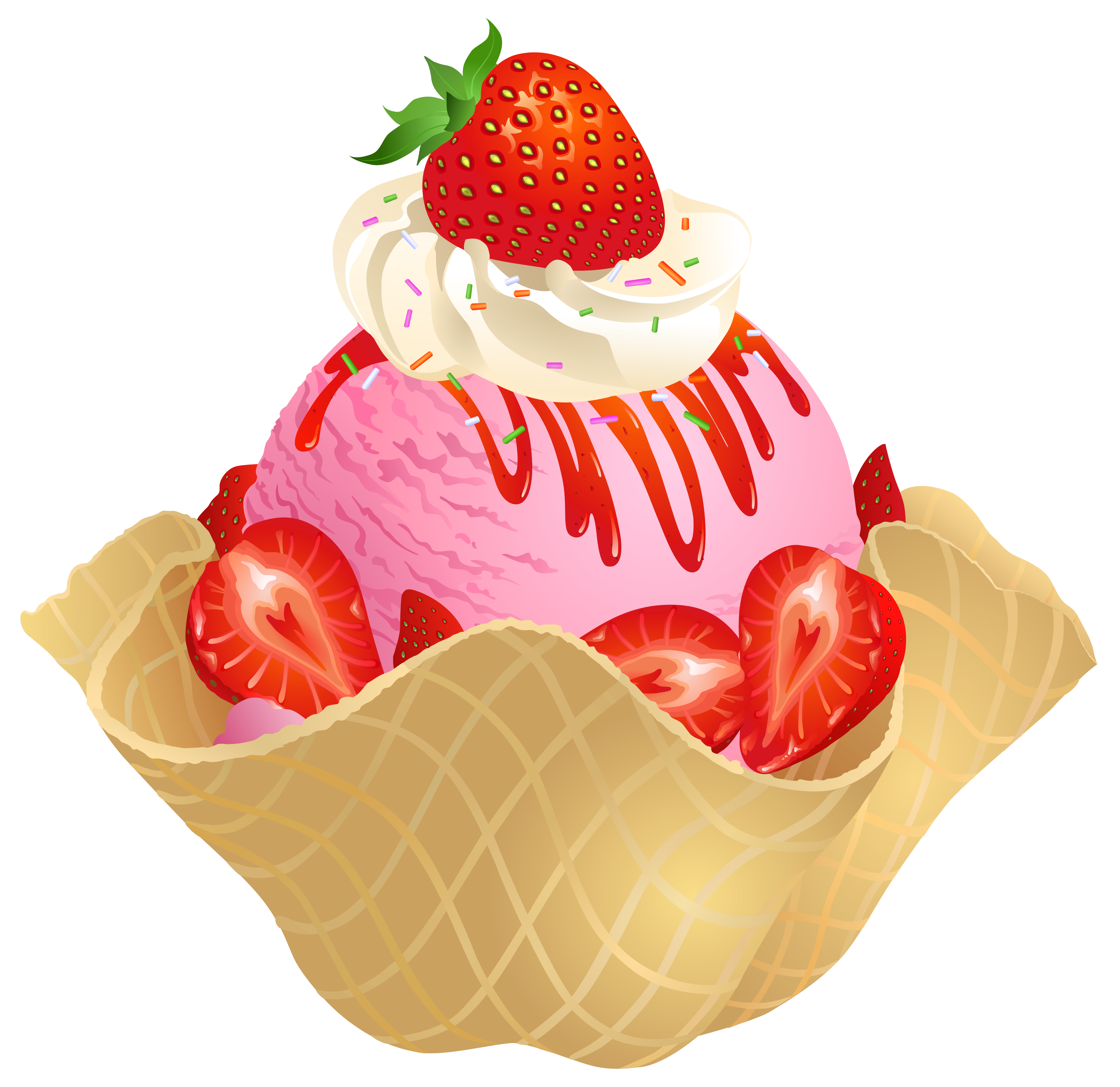 picture library library Transparent strawberry ice cream. Waffle clipart free