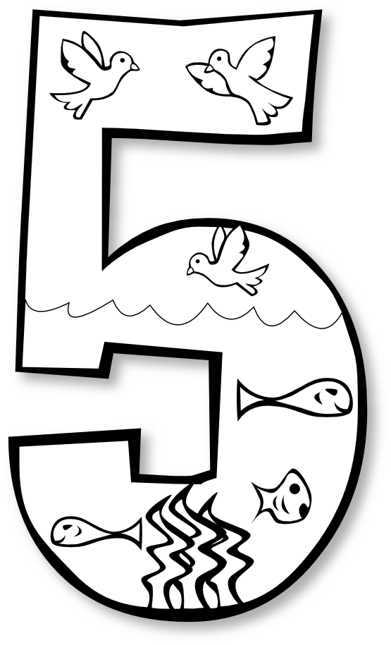 clip royalty free library Sunday school clipart black and white. Creation day number ge