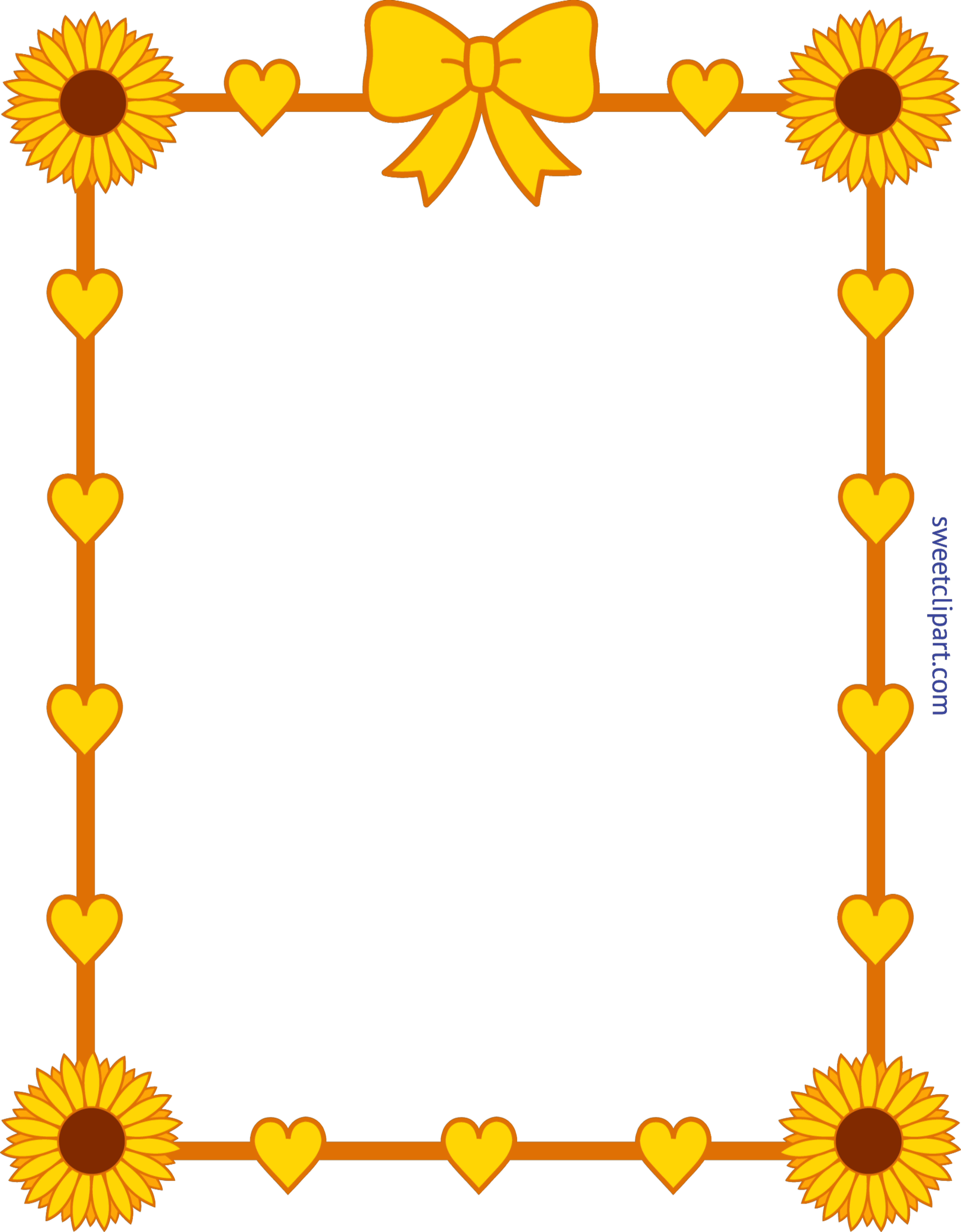 clip freeuse Sunflower yellow hearts border. Frame borders clipart