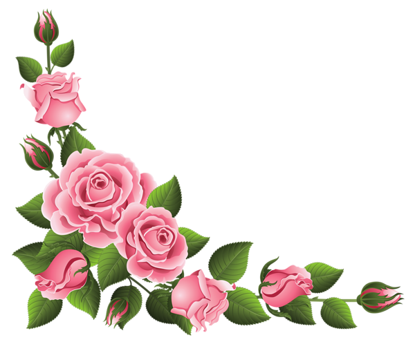 free Sunflower corner border clipart. Decoration with roses png
