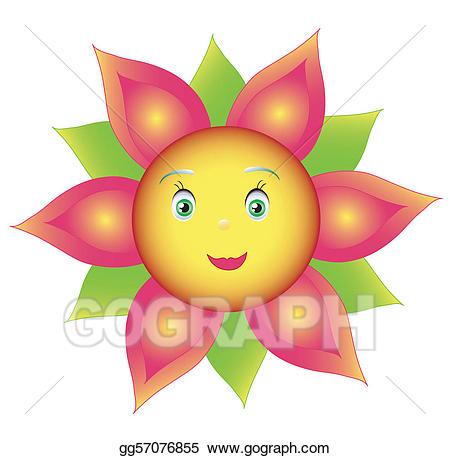 graphic black and white Vector art smile colored. Sunflowers clipart colorful.