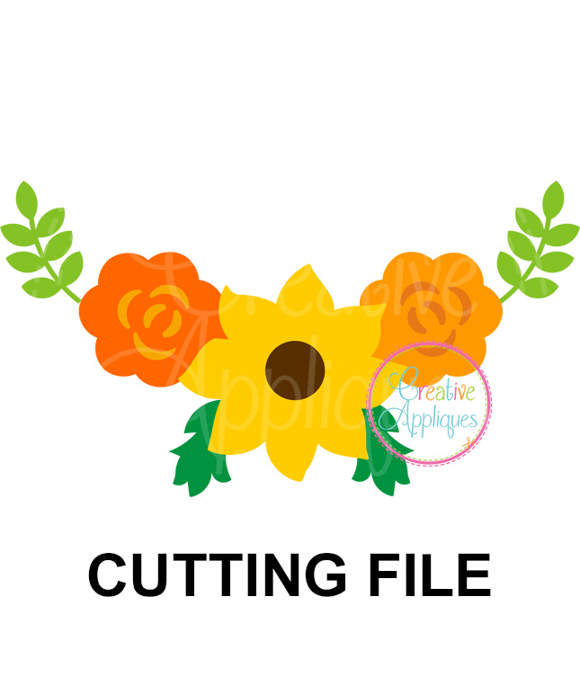 banner free Sunflower floral cut file. Sunflowers clipart swag