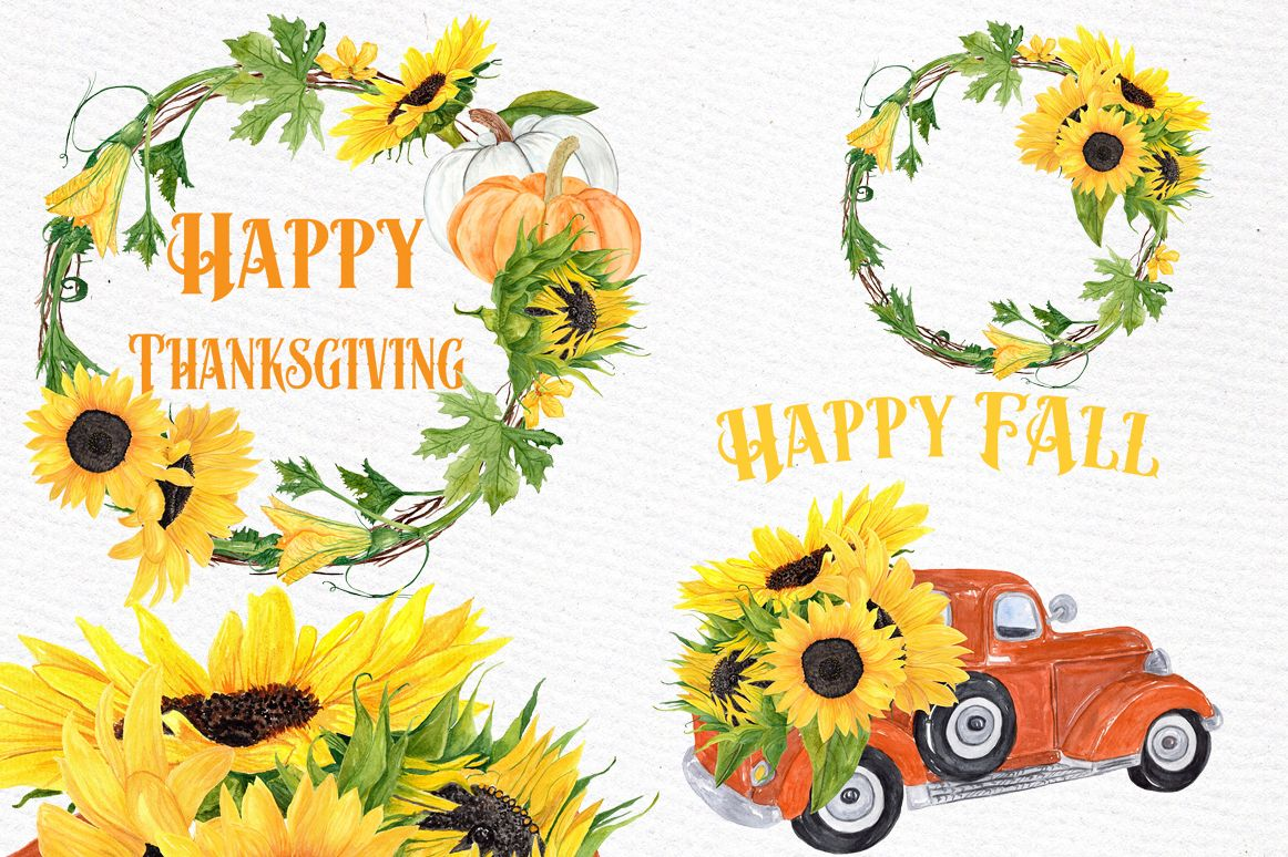 png library stock Sunflower wreaths . Sunflowers clipart thanksgiving