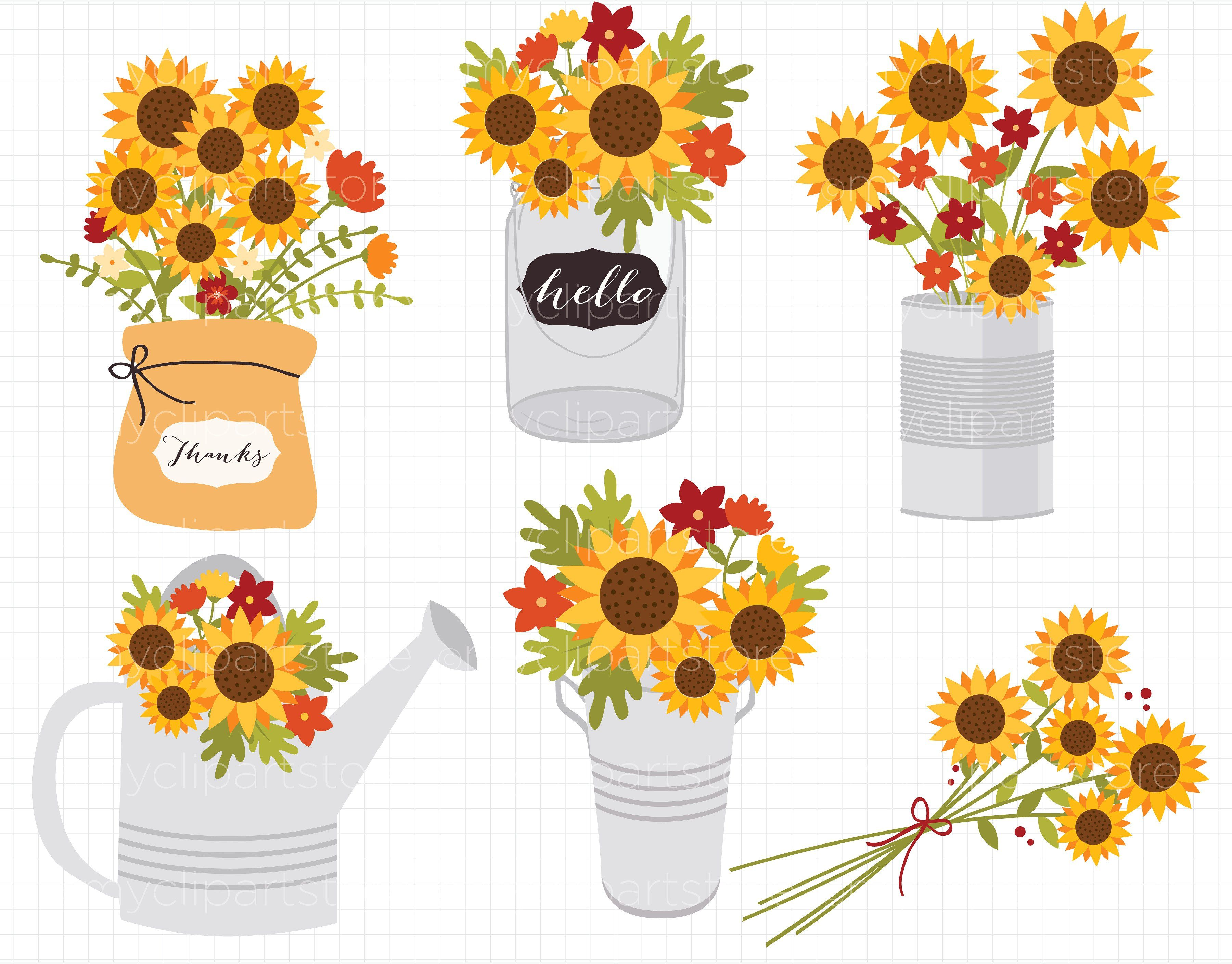 jpg royalty free library Sunflowers clipart thanksgiving. Fall flowers autumn .