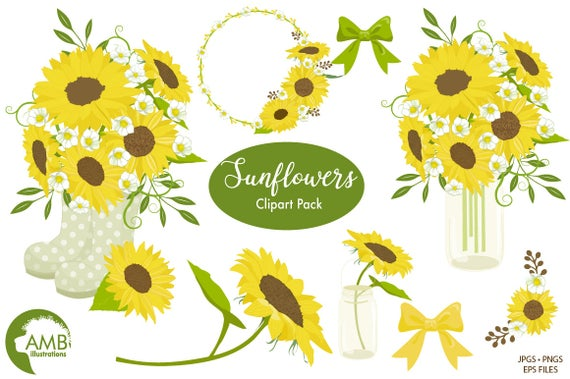 banner royalty free Sunflowers clipart wedding. Sunflower shabby chic country