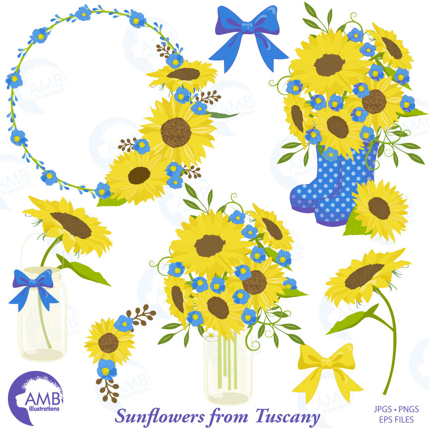 clip art library library Sunflower shabby chic blue. Sunflowers clipart wedding