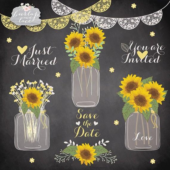 vector library download Sunflowers clipart wedding. Mason jar flower bridal