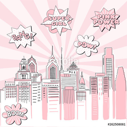 clip art library library Sunray vector doodle. New york city scape.