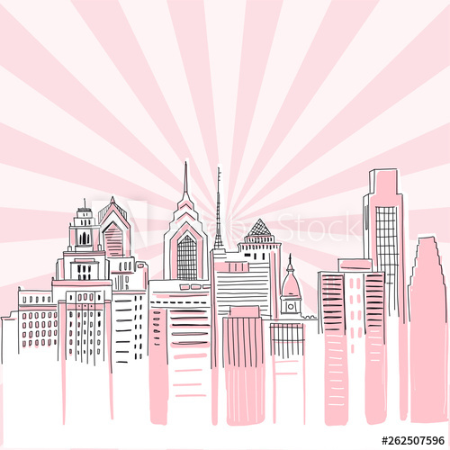 clipart freeuse library Sunray vector doodle. New york city scape.