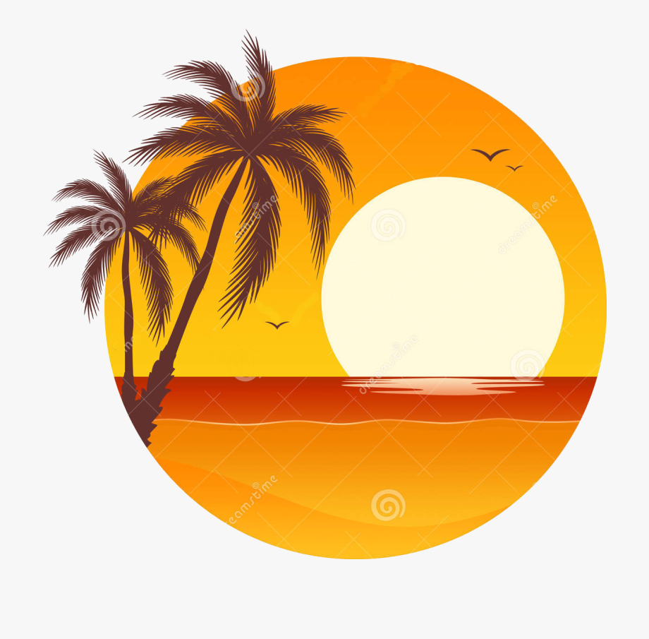 clipart library stock Sunset clipart. Palm tree pixel by.
