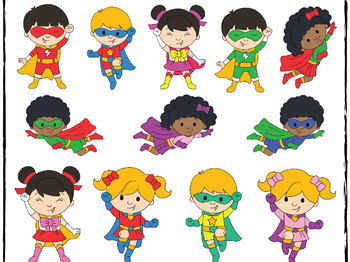 banner library download Superhero kids clipart. .