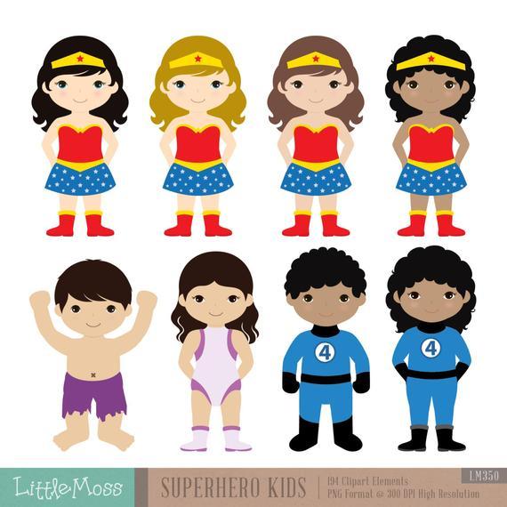 clip art stock Superhero kid clipart.  kids costumes superheroes