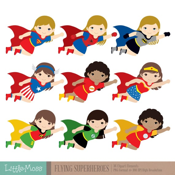 graphic black and white library Flying superheroes super hero. Superhero kids clipart