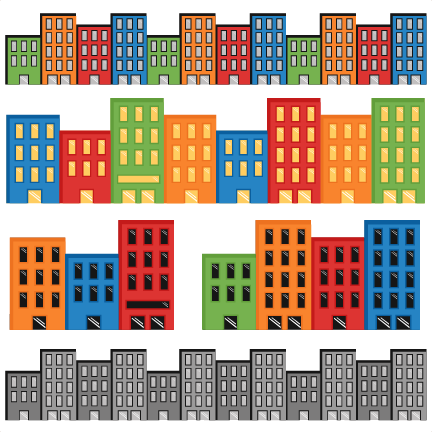 vector royalty free stock Superhero Cityscapes SVG cutting files for scrapbooking superhero