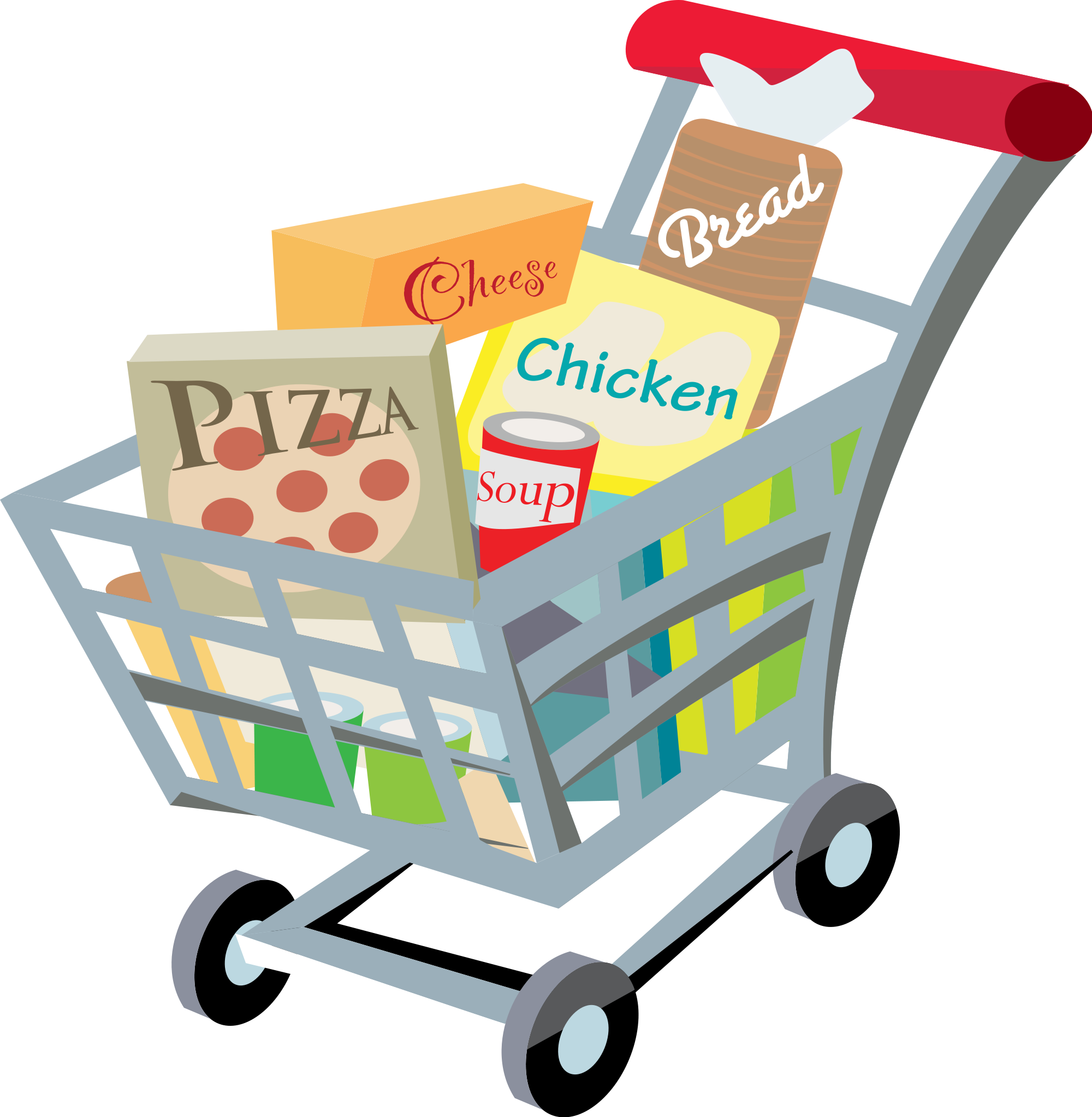 graphic black and white Grocery store shopping cart. Supermarket building clipart