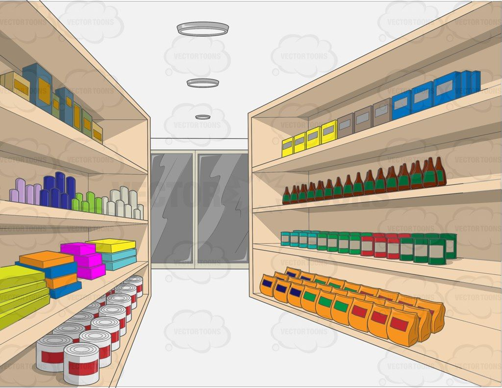 vector freeuse A with random goods. Supermarket clipart aisle