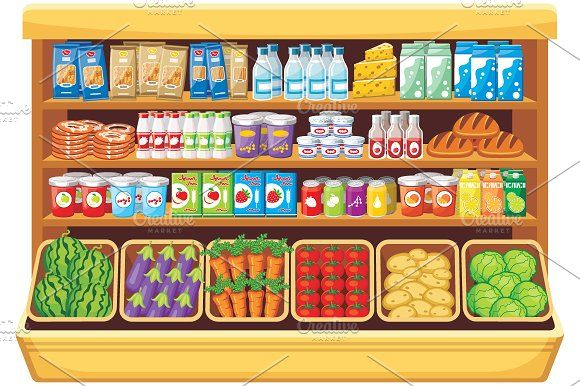 png royalty free Supermarket clipart artwork. Shelves products in the