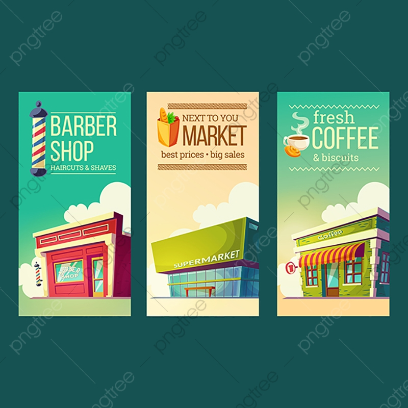 clipart Set vertical banners in. Supermarket clipart banner