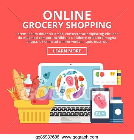 image stock Supermarket clipart banner. Vector art online grocery