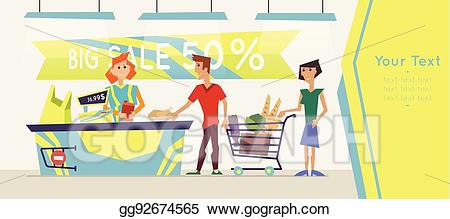 graphic royalty free download Clip art vector for. Supermarket clipart banner