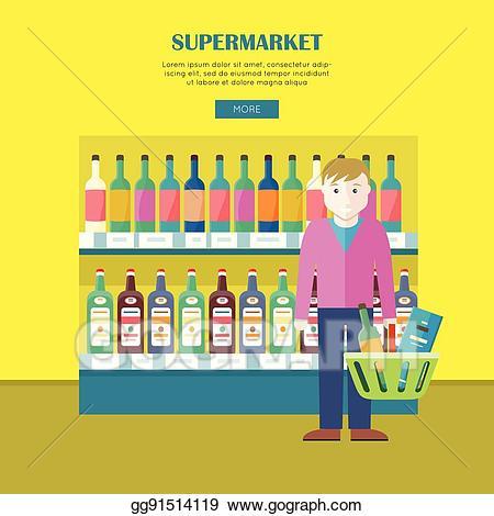 svg freeuse stock Clip art vector concept. Supermarket clipart banner