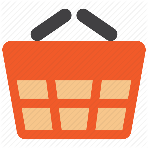 freeuse library Shopping e commerce flat. Supermarket clipart basket goods