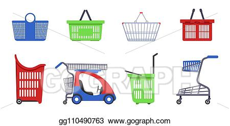 clip art transparent download Vector shopping carts and. Supermarket clipart basket goods