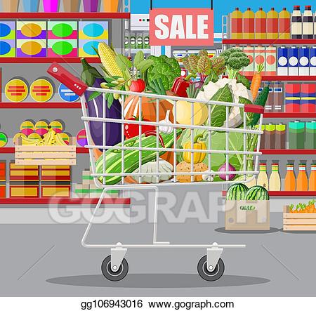 picture freeuse download Supermarket clipart big store. Clip art vector interior