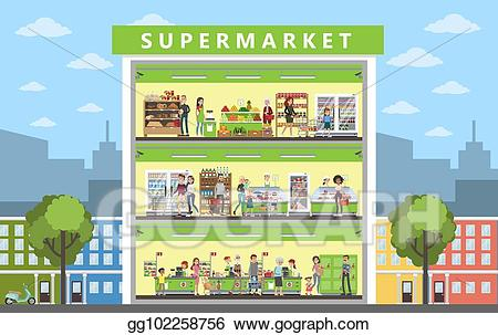 jpg black and white stock Vector art interior drawing. Supermarket clipart building
