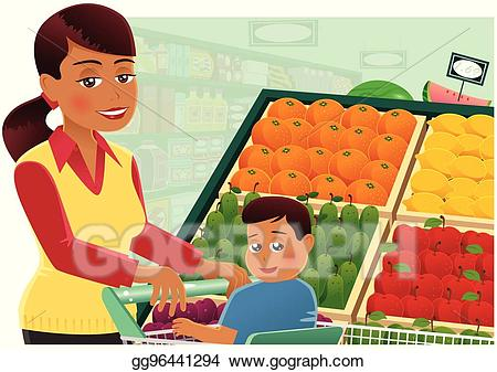 vector library library Supermarket clipart busy. Vector art woman shopping