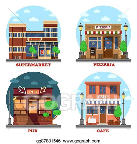 svg freeuse stock Supermarket clipart cafe building. Vector stock pub and