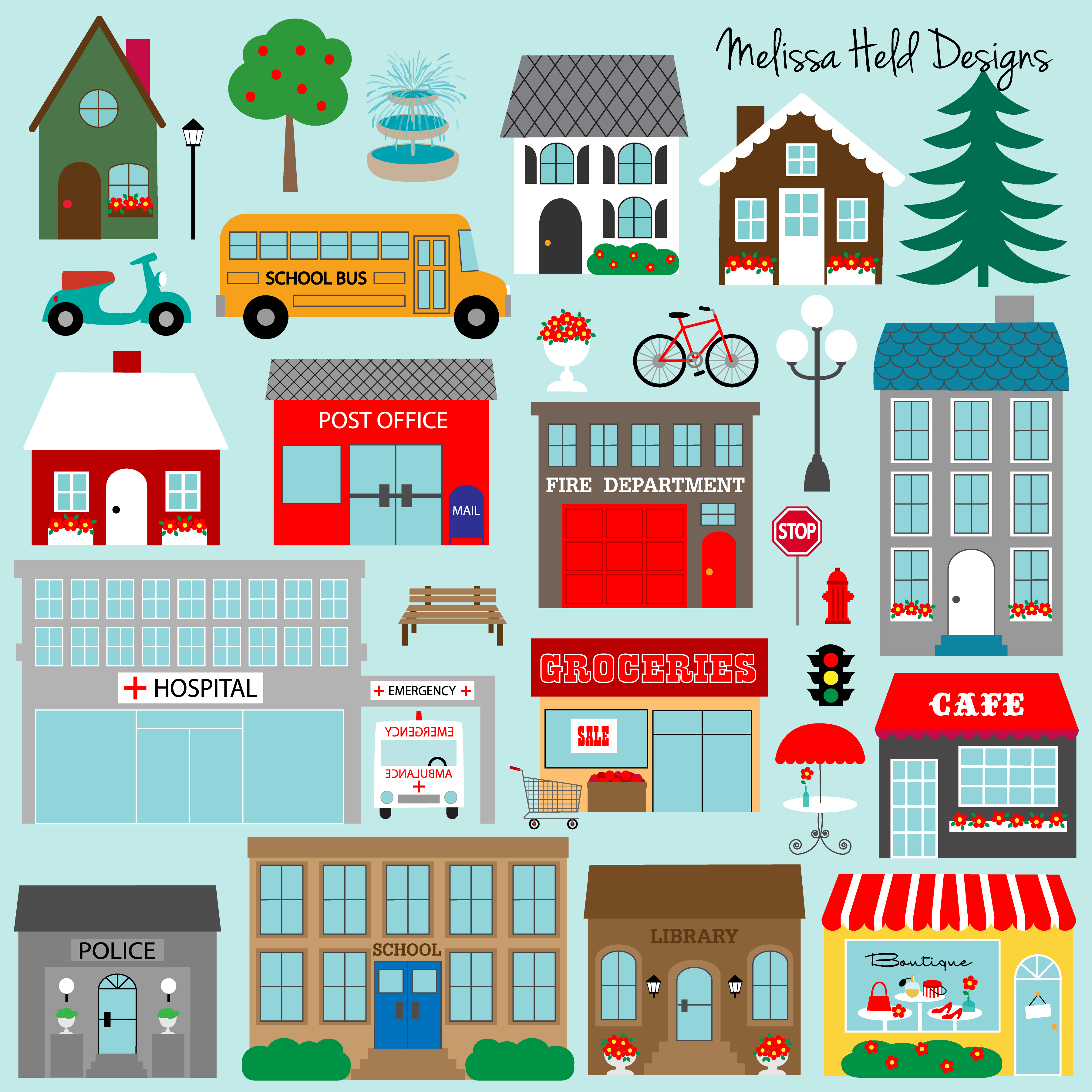 image freeuse download Supermarket clipart cafe building. Grocery .