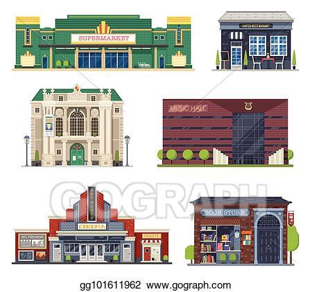 vector free stock Vector city public buildings. Supermarket clipart cafe building