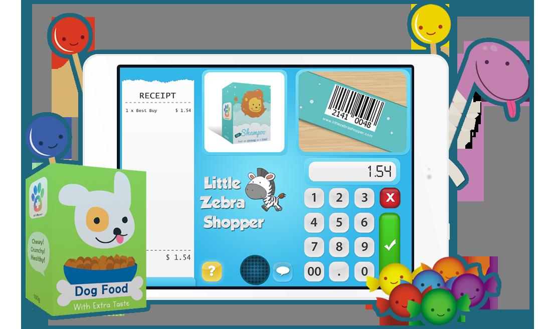 jpg freeuse stock Little zebra shopper . Supermarket clipart casher