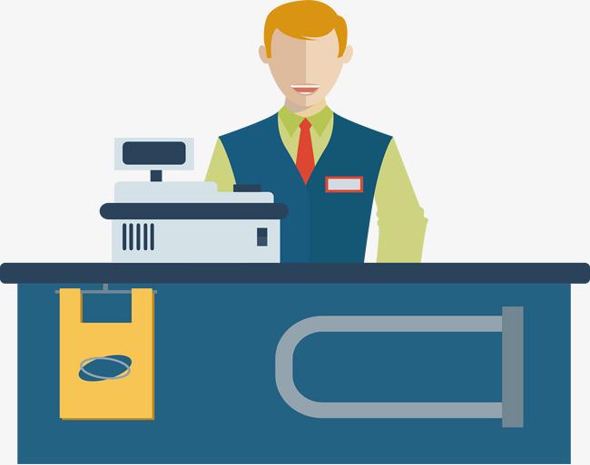 jpg black and white download Cashier . Supermarket clipart casher