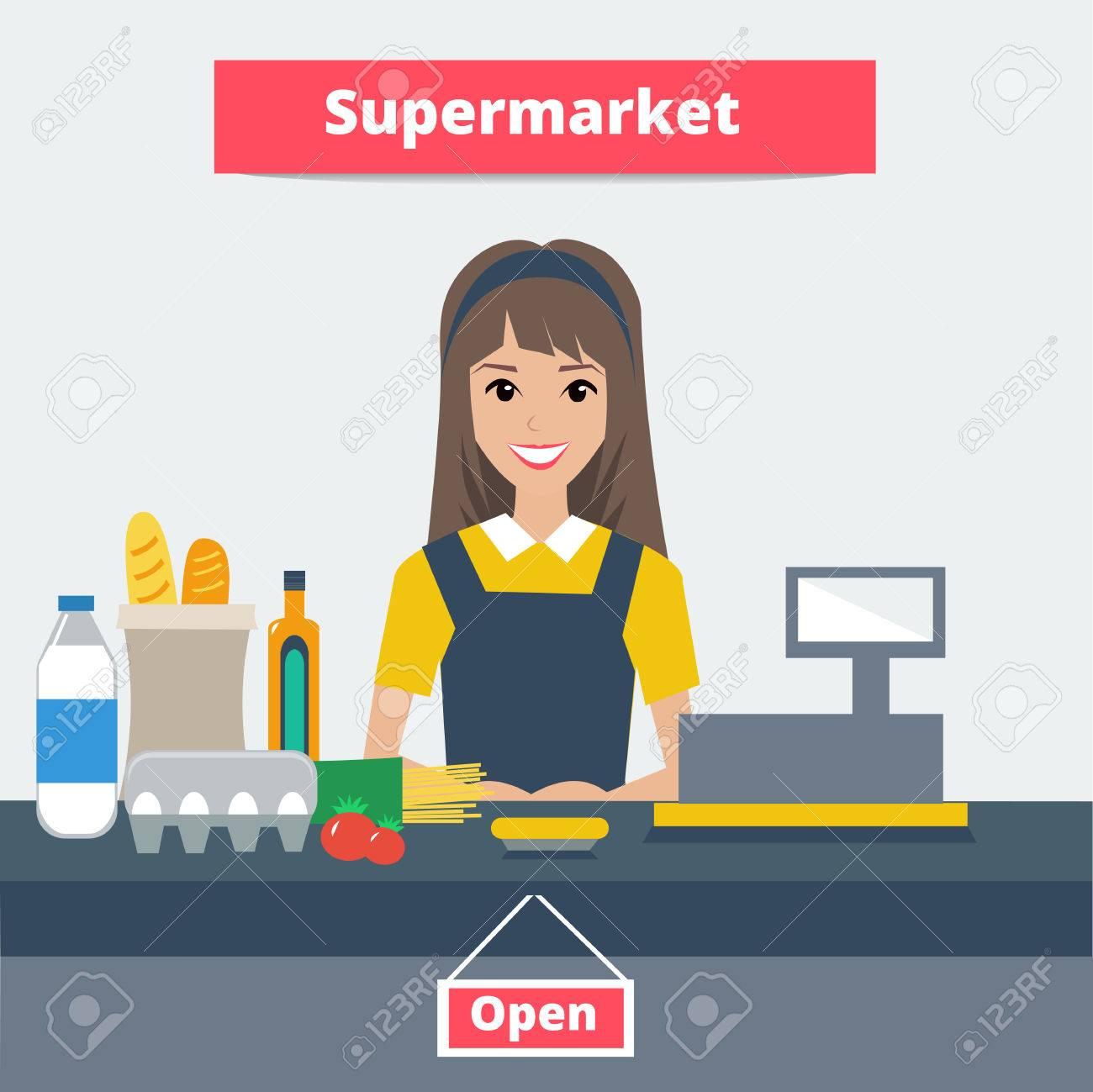 clip download Supermarket clipart casher. Cashier portal