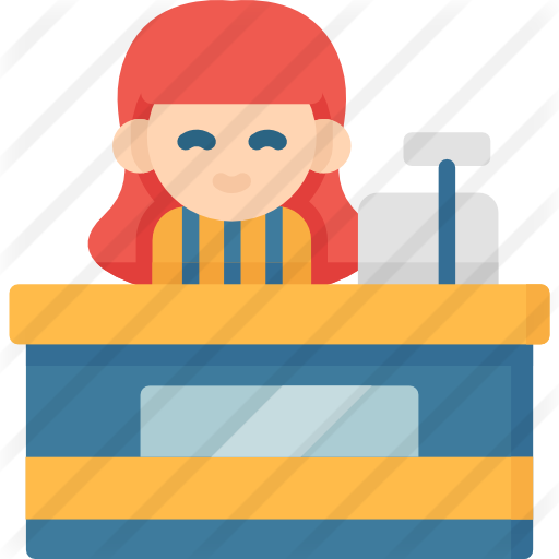 banner free library Supermarket clipart casher. Cashier free business icons
