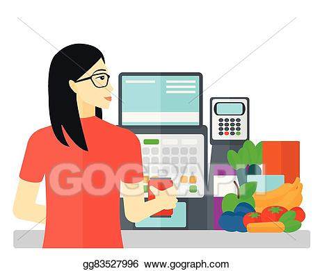 picture library Supermarket clipart cashier. Vector art at checkout