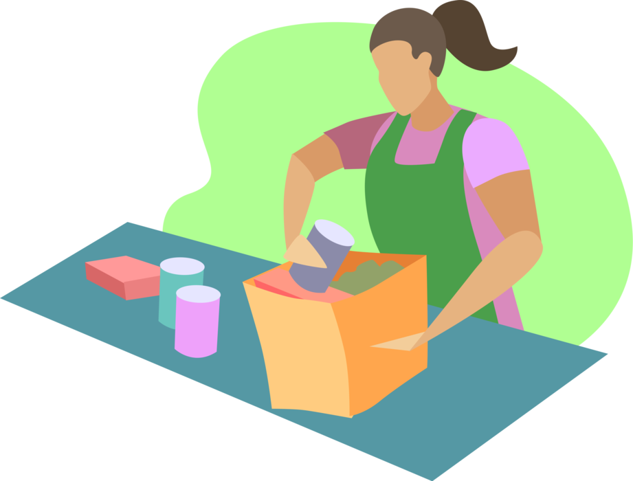 vector library library Supermarket clipart checkout. Store clerk packs groceries