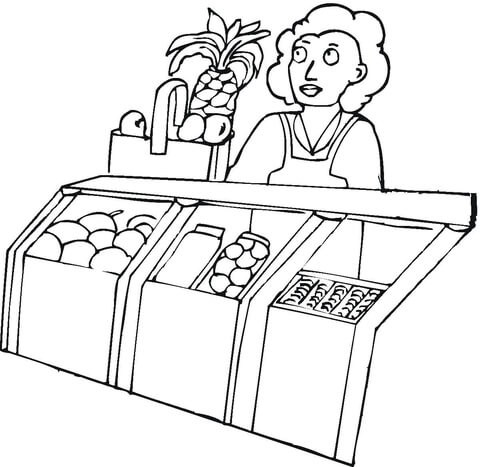 clip art black and white download Seller in the grocery. Supermarket clipart coloring