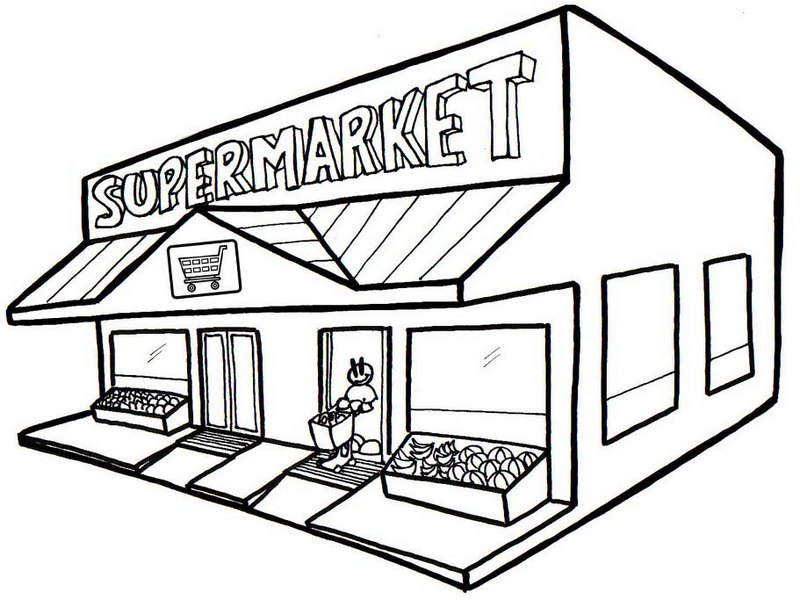 graphic library library Grocery store drawing free. Supermarket clipart coloring