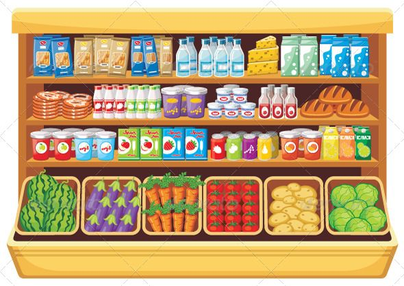 jpg freeuse stock Vector free food shelf. Supermarket clipart consumer product.