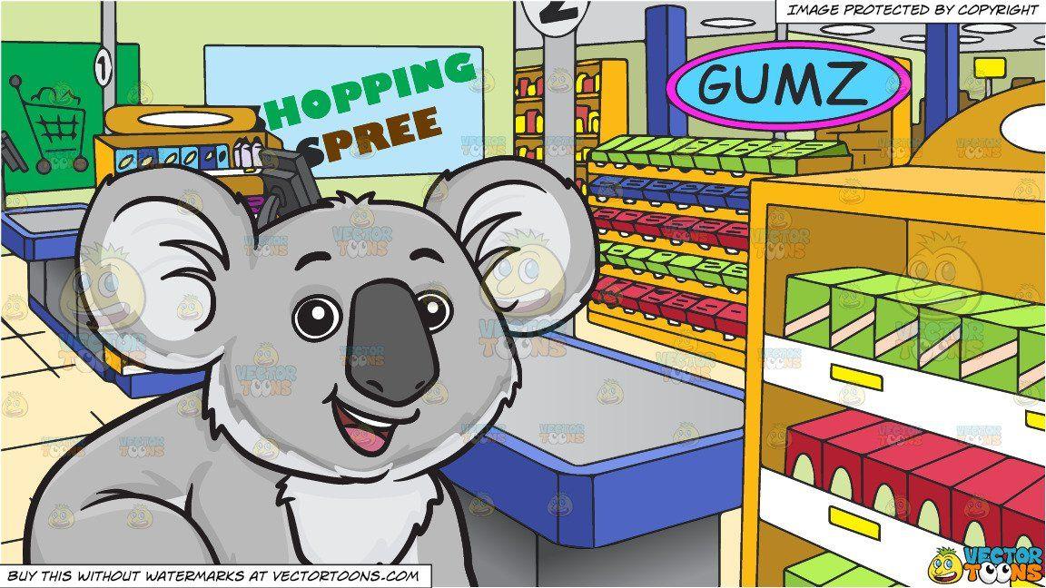 clip art royalty free library Cartoon an adorable koala. Supermarket clipart counter.